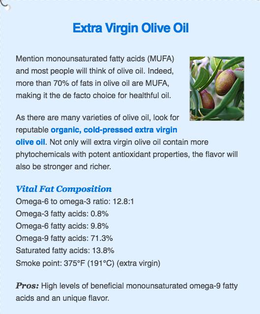 olive oil fat profile